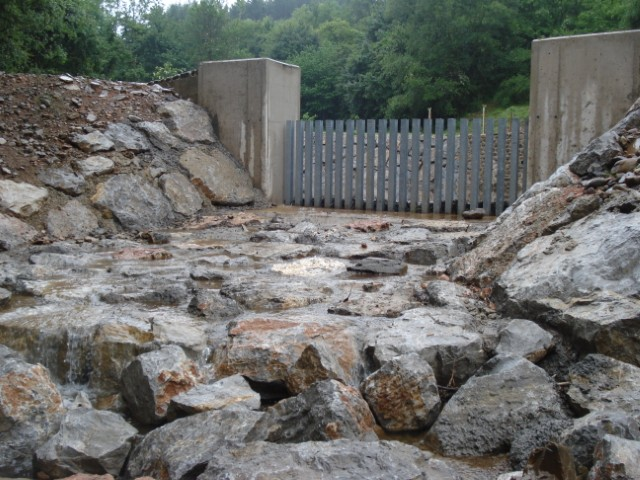 Defence works against torrential rains in the town of Ojacastro (La Rioja)