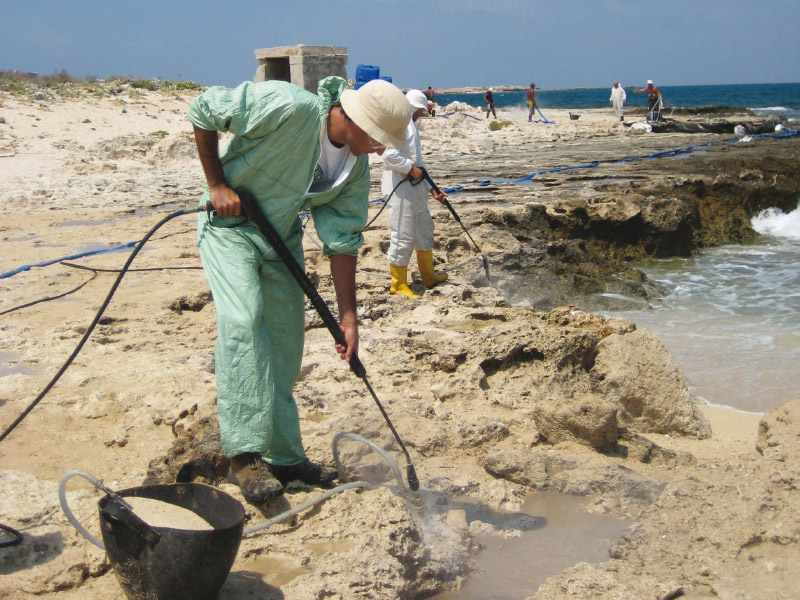 Cleaning of oil spills in natural reserves